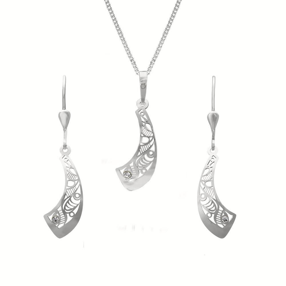 Stříbrný set přívěsku, řetízku a náušnic KO0836M_NA0487