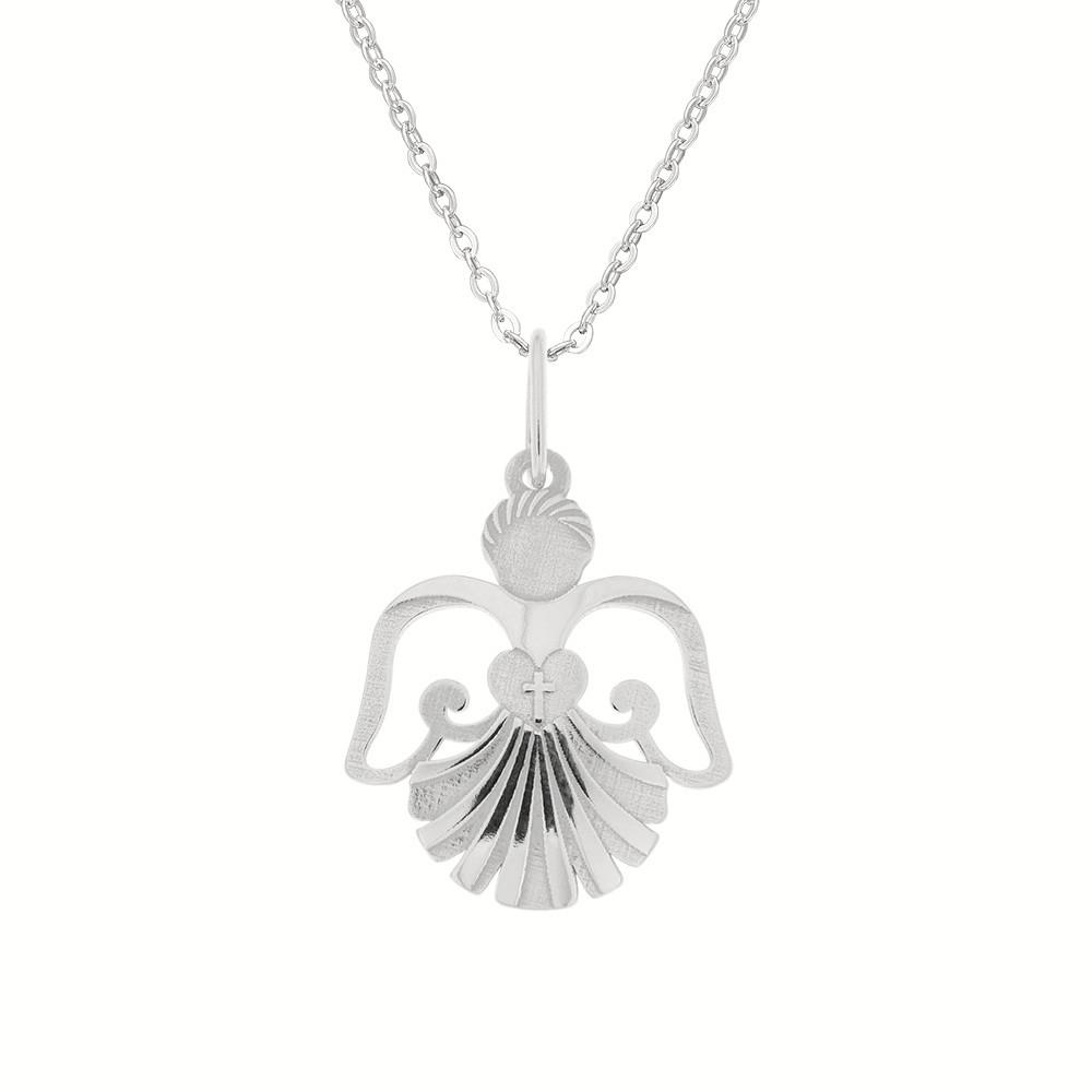 Stříbrný přívěsek na stříbrném řetízku Anděl s mušlí