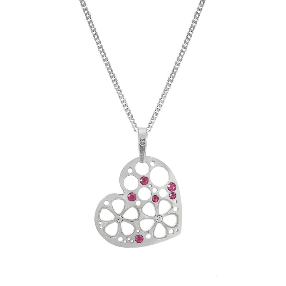 Stříbrný komplet přívěšek PA1841 srdce s květy + řetízek CURB Ø050 45cm