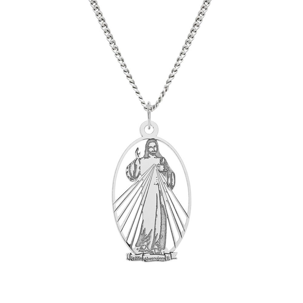 Stříbrný přívěsek na stříbrném řetízku Obraz Milosrdného Ježíše