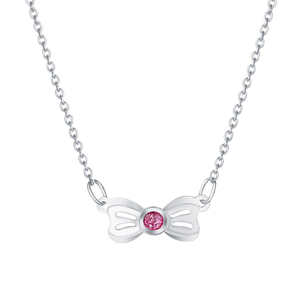 Dětský stříbrný náhrdelník Růžová mašlička