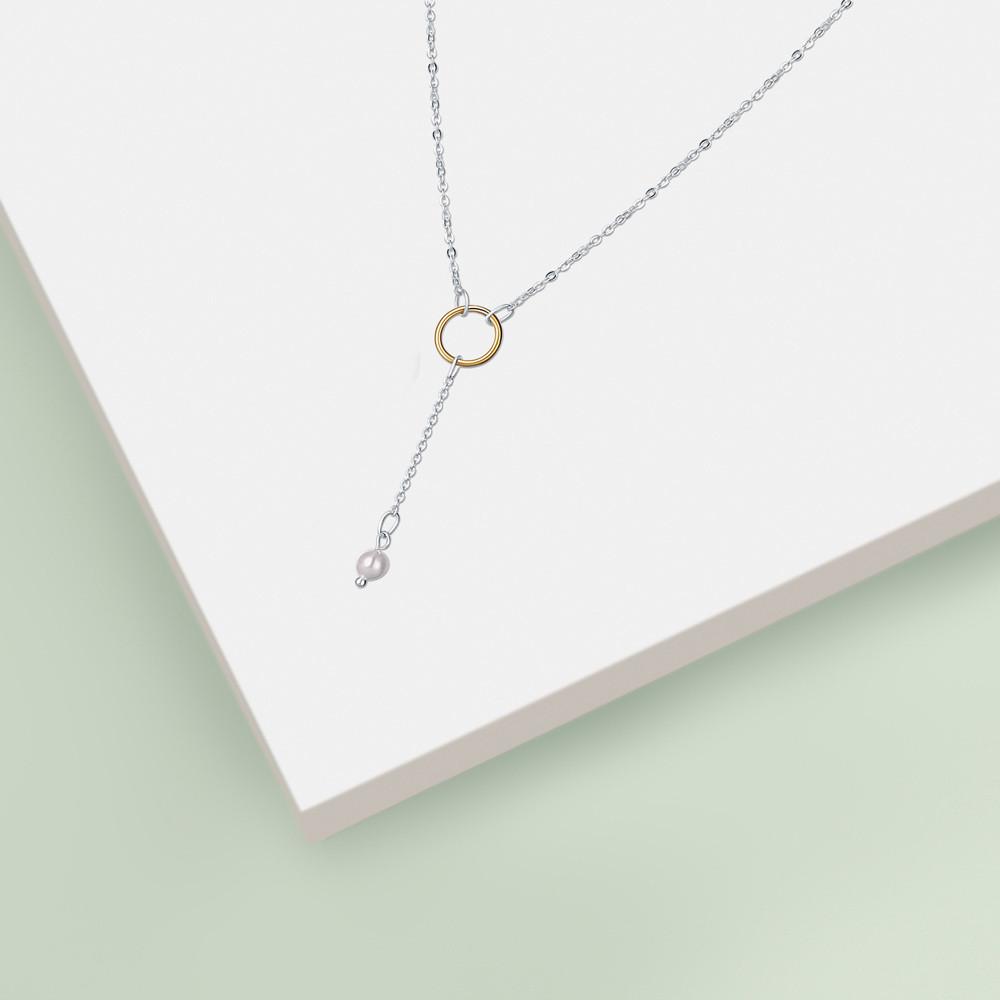 Stříbrný náhrdelník Gold pearl