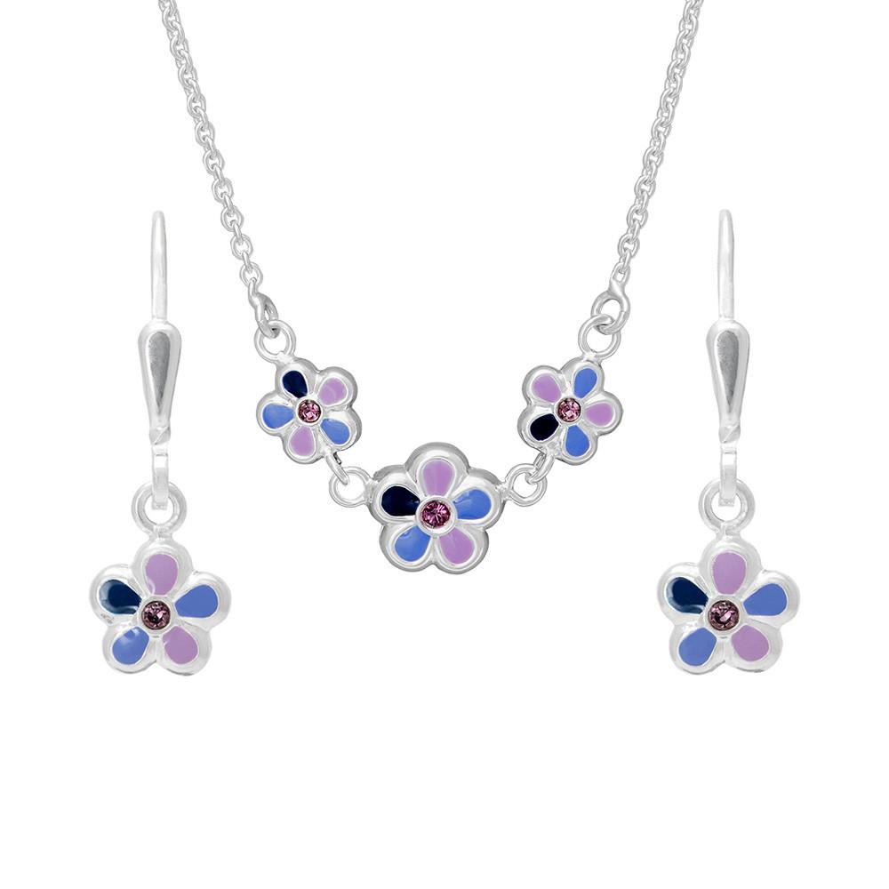 Dětský stříbrný set náhrdelníku a náušnic N8001_NA8002