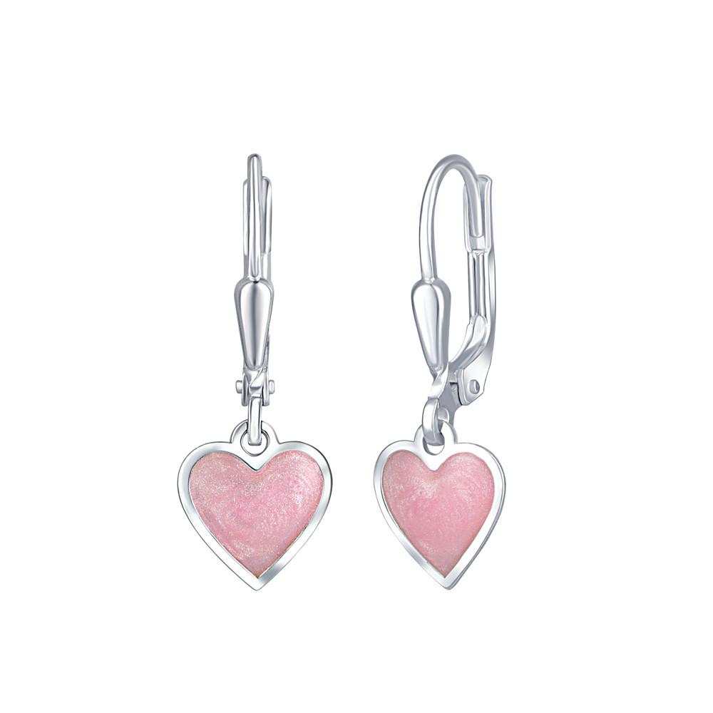 Dětské stříbrné náušnice Růžové srdce