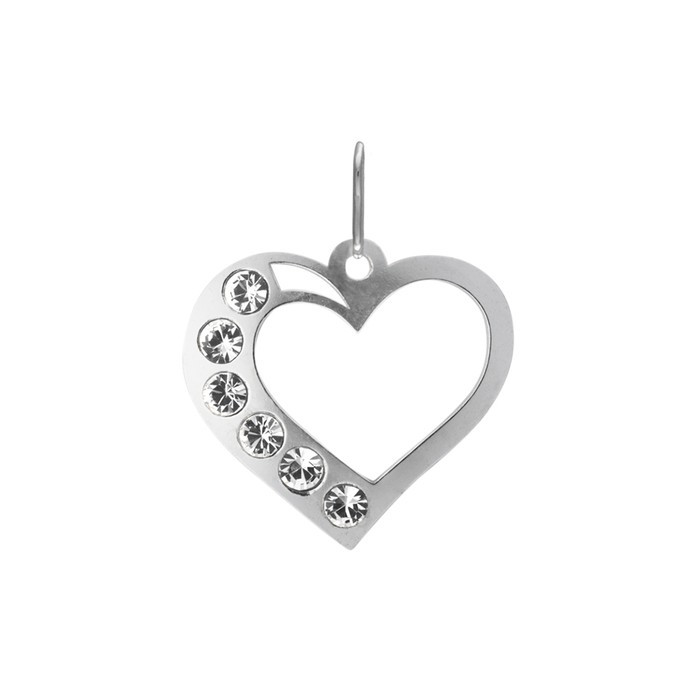 Stříbrný přívěšek PA1630 srdce vytl. 54 s bílými kamínky