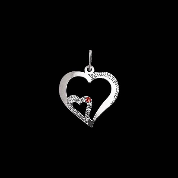 Stříbrný malý přívěšek PA1639 srdce s kamínkem