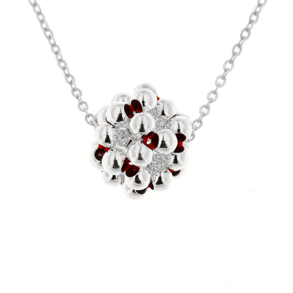 Stříbrný náhrdelník Bolla červený