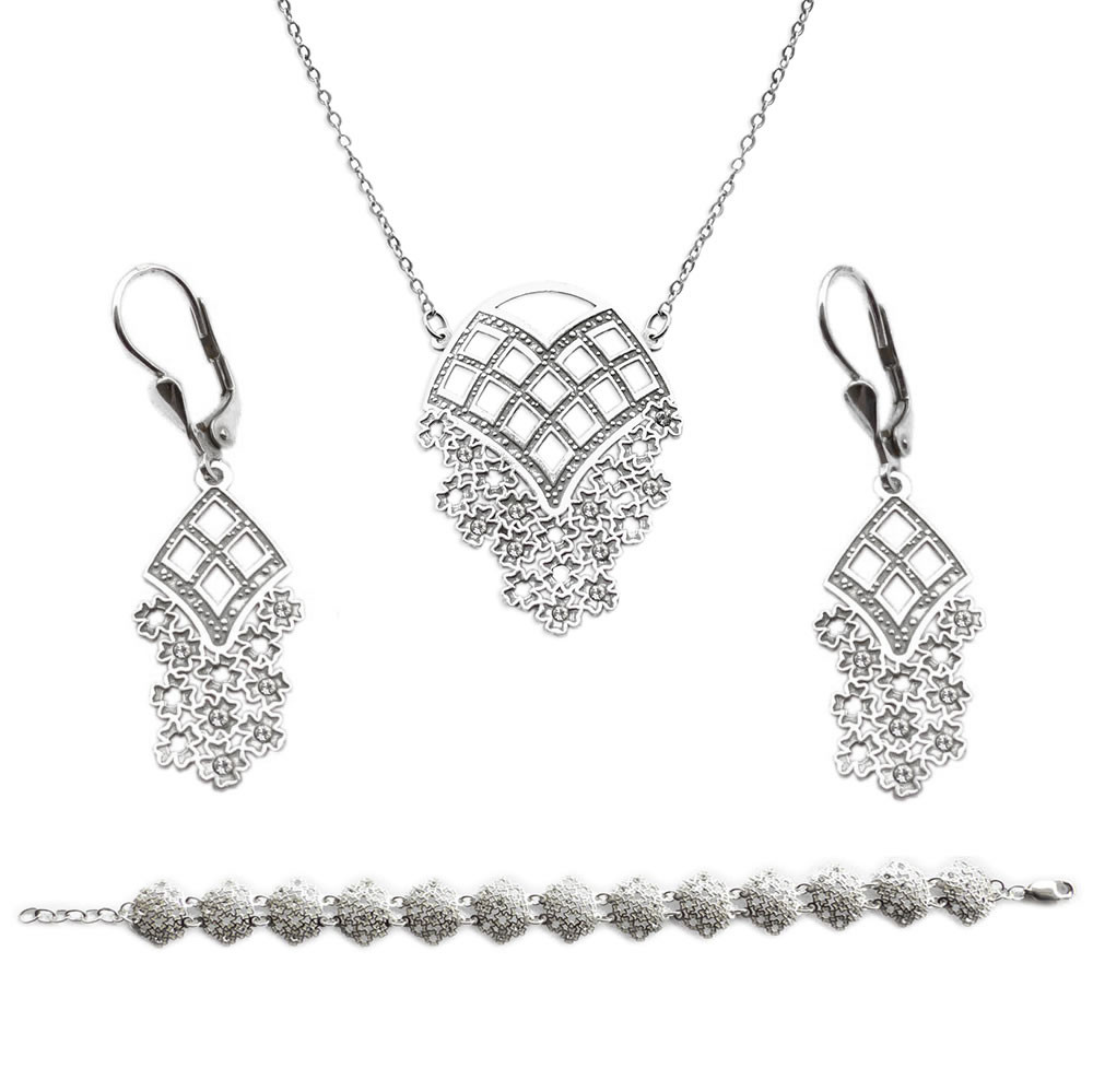 Stříbrný set náhrdelníku, náušnic a náramku Happiness