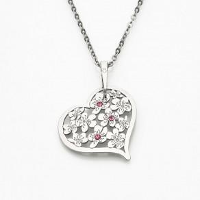 Stříbrný přívěsek na stříbrném řetízku Flowering Heart