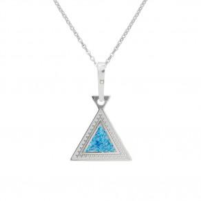Stříbrný přívěsek na řetízku Blue Triangle