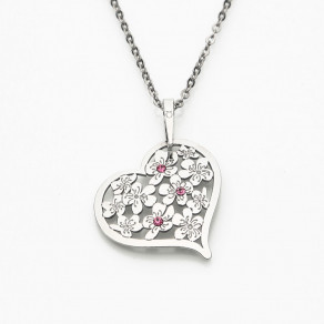 Stříbrný přívěsek na řetízku Flowering Heart