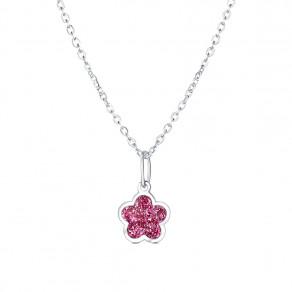 Dětský stříbrný přívěsek na řetízku Růžový květ