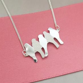 Stříbrný náhrdelník Birds