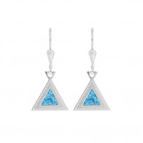 Stříbrné náušnice Blue Triangle