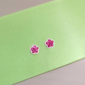 Dětské stříbrné náušnice Růžový květ