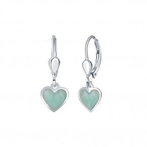 Dětské stříbrné náušnice Mint srdce