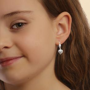 Dětské stříbrné náušnice Krémové srdce
