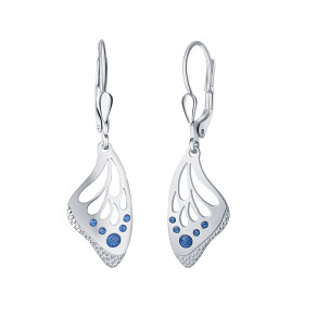 Stříbrné náušnice Blue Butterfly