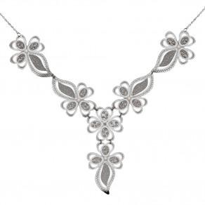Stříbrný náhrdelník Sparkling Leaves